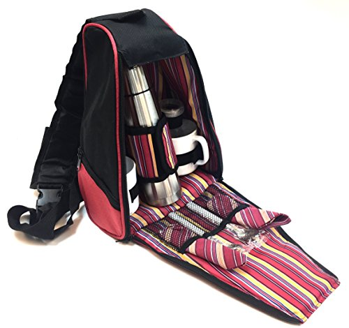 Norwood Picnic Camping Backpack Bag with Thermos Coffee Mugs Utensil (Coffee Picnic Backpack)