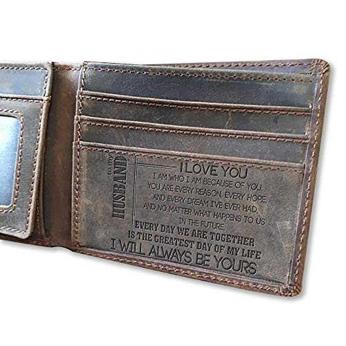 Leathrr I Love You, I am who I am Because of You, to My Husband - Men Wallet, Gift for Husband, Birthday Gift