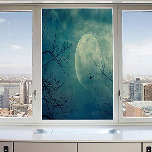 3D Decorative Privacy Window Films,Halloween with Full Moon in Sky and Dead Tree Branches Evil Haunted Forest,No-Glue Self Static Cling Glass film for Home Bedroom Bathroom Kitchen Office 17.5x36 -