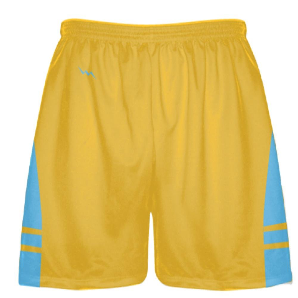Youth Athletic Gold Light Blue Boys Mens Lacrosse Shorts Youth X-Small, Gold