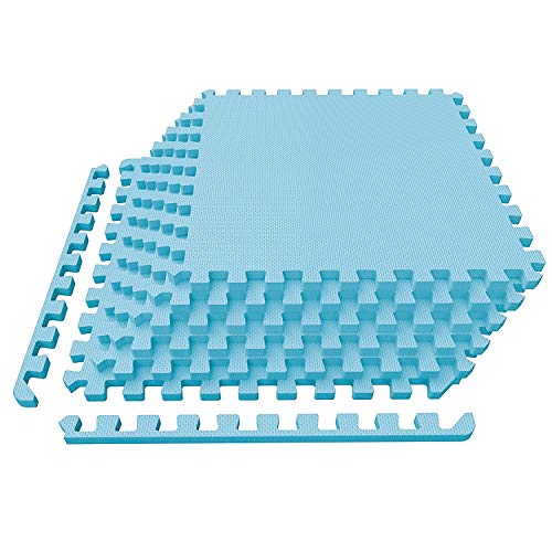 Cushion Tile - LEVOIT Puzzle Exercise Mat, Premium EVA Foam Interlocking Tiles, Protective Flooring for Gym Equipment and Cushions for Workouts, 24 SQ FT (6 Tiles, 12 Borders) (Blue)