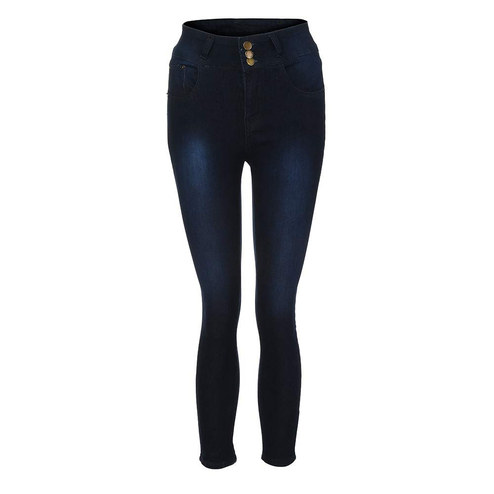 Conquro-Pantalones de Estiramiento de Mezclilla de Gran tama/ño y Cintura Alta Slim Fit Vaqueros para Mujer Vaqueros Ce/ñidos de Tiro