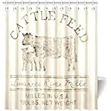 """Cattle Feed C-shaped hooks Fitted Handing Shower Curtain 66""""*72""""(with 12 holes)"""