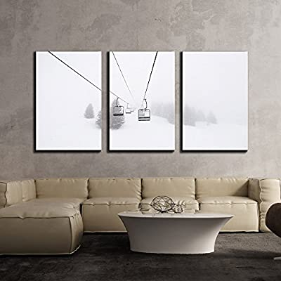 Amazing Piece, Ski Lift in Winter x3 Panels, That You Will Love