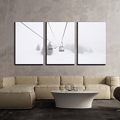 "Wall26 - 3 Piece Canvas Wall Art - Ski Lift in Winter - Modern Home Decor Stretched and Framed Ready to Hang - 24""x36\""x3 Panels"