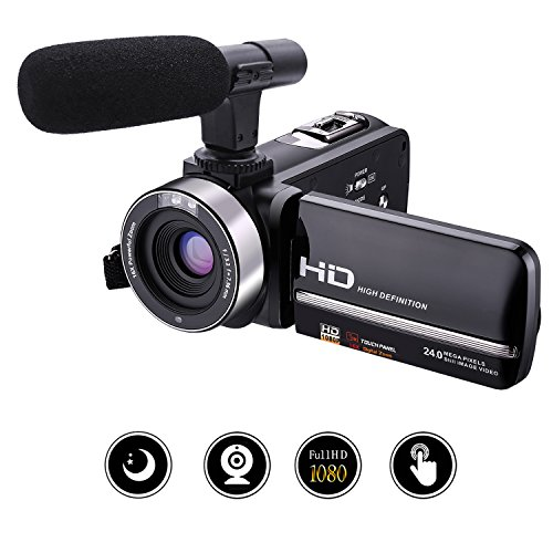 "Camcorder Video Camera Full HD 1080p 30fps 24.0MP Camcorders With External Microphone Night Vision Camera Webcam 3"" Touchscreen Digital Camcorder"