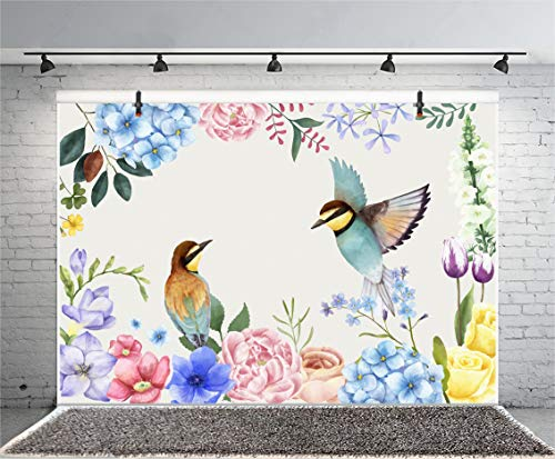 Leyiyi 6x4ft Watercolor Photography Backdrop Spring Flowers Floral Petals Garden Flower Birds Nature Park Chinese Art Background Kids Birthday 1st B Day Baby Shower Photo Portrait Vinyl Studio Prop