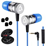 KLIMTM Fusion Earbuds with Mic Audio - Long-Lasting Wired Ear Buds + 5 Years Warranty - Innovative: in-Ear with Memory Foam Earphones with Microphone - 3.5mm Jack - New Earphone 2020 Version - Blue