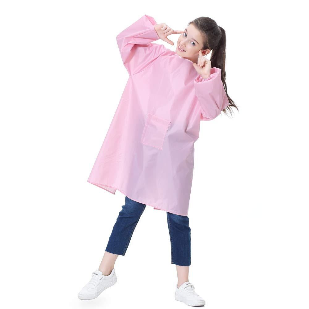 Kids Art Smock Painting Apron for Toddler Preschool Children with Pocket,Long Sleeves,Long Section,Waterproof (XXXL for Age 8-12, Pink for Girl)