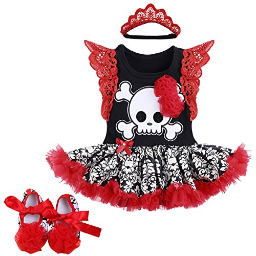 Baby Girls 1st Halloween Outfit My First Christmas Birthday Fancy Party Romper Dress Lace Flutter Sleeve Bodysuit Headband Leg Warmer Shoes Pirate Skull Photo Prop Costume 3Pcs Set Red + -