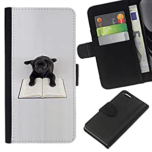 Black Pug Toy Dog Book Reading Books - la tarjeta de Crédito Slots PU Funda de cuero Monedero caso cubierta de piel Apple iPhone 5C