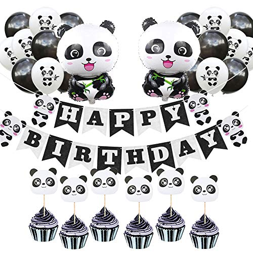 Sharlity Panda Party Decorations Supplies Happy Birthday Banner Panda Balloons Cake Toppers for Kids Panda Birthday Decorations -
