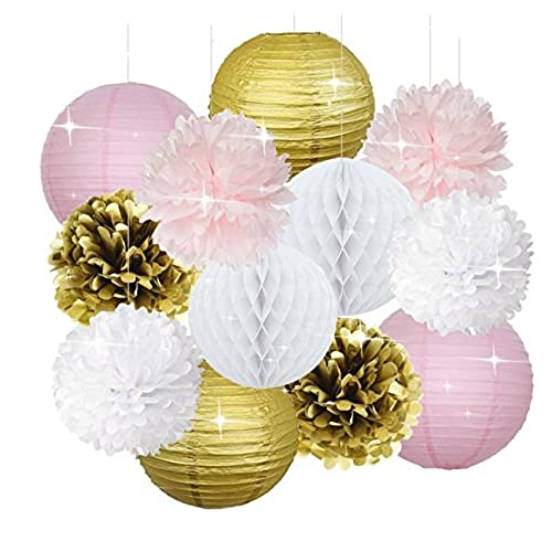 pink baby shower decorations furuix 12pcs pink gold party decorations tissue paper pom pom honeycomb ball and paper lantern for one year old girlsu0027 birthday