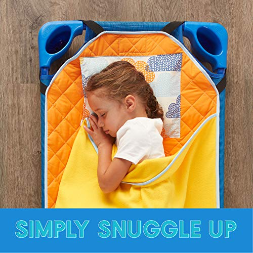 ECR4Kids Toddler Nap Mat Companion - Portable All-in-One Preschool/Daycare Nap Bundle with Built-in Liner, Blanket and Removable Pillow, Tangergine Clouds Design