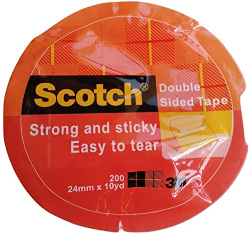 3M 200 Scotch Double Sided Adhesive Tissue Mounting Tape 24 mm X 10 yds Pack of 2