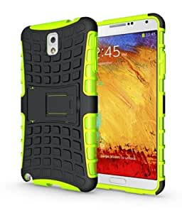 KINGCO Rugged Hybrid Belt Clip Holster Hard Shell Case Cover with Kickstand for Samsung Galaxy Note 3 III N9000 (green)