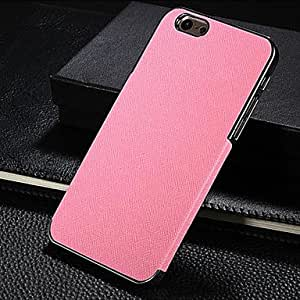 Silver Side Cross Pattern Stick To Leather Phone Case for iPhone 6 ,Color:Rose Protective Smartphone Shell