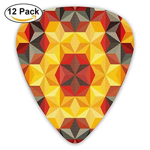 Anticso Psychedelic Design With Geometric Kaleidoscope Diagonal Fractal Star Image Guitar Picks ()