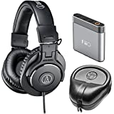 Audio-Technica ATH-M30x Professional Headphones Amp Bundle Includes, Slappa Hard Body PRO Full Sized Headphone Black Case & FiiO A1 Portable Headphone Amplifier (Silver)