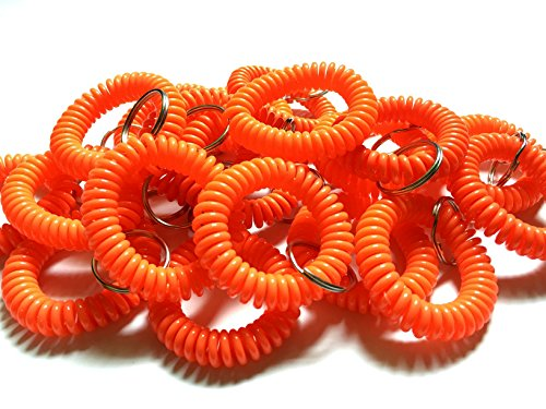 Happyi 10pcs Colorful Bright Assorted Pearlized Gradual Changing Colors Plastic Spiral Coil Wrist Band Key Ring Chain (Orange)