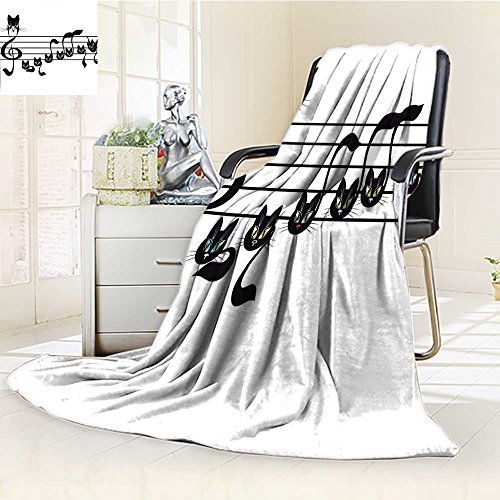 YOYI-HOME Silky Soft Plush Warm Duplex Printed Blanket,Music Notes Kittens Cat Artwork Notation Tune Children Halloween Style Pattern Black Green Blue Anti-Static,2 Ply Thick Blanket /W31.5 x H47