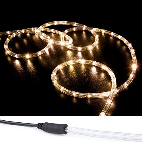 WYZworks 150' Warm White LED Rope Lights w/ (Pre-attached Power Cable) - Flexible 2 Wire Accent Christmas Party Decoration Lighting