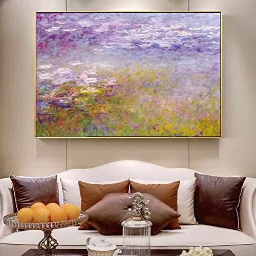QWESFX Monet Lirios de agua Pinturas en la pared Impresionista Pintura famosa Reproduccion Flor Lienzo Cuadros para la decoracion de la sala de estar (Imprimir sin marco) B 40x60CM