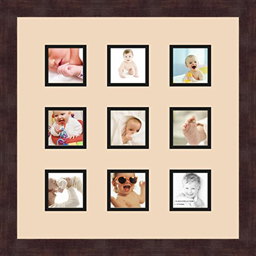 Art to Frames Double-Multimat-768-693//89-FRBW26061 Collage Frame Photo Mat Double Mat with 1-12x18 and 1-1x4.5 Openings and Espresso Frame