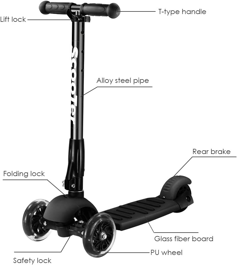 Greentest Scooter Foldable Adjustable Height Easy Turning 3 Wheel Scooter Kids Boys Girls Flashing PU Wheels Black Black