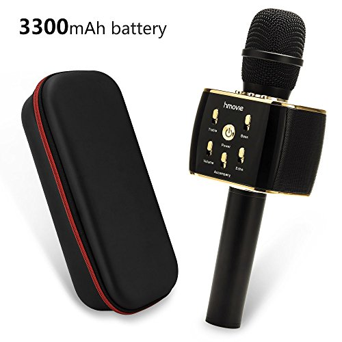 3300mAh Wireless Karaoke Microphone w/ 12w Hi-Fi Bluetooth Speaker Player for Apple iPhone Android Smartphone Or PC, Home Outdoor Chrismas Party Music Playing Singing Anytime (B/w Iphone)