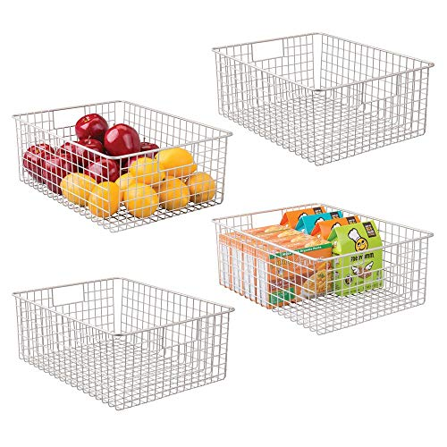mDesign Farmhouse Decor Metal Wire Food Organizer Storage Bin Baskets with Handles for Kitchen Cabinets, Pantry, Bathroom, Laundry Room, Closets, Garage - 4 Pack - Satin
