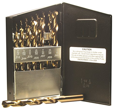Viking Drill and Tool 68340 Type 240-D 135 Degree Split Point Cobalt Jobber Gold Finish Drill Set (15 Piece) ()