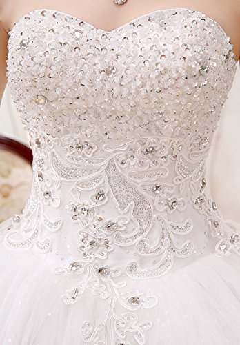 Gorgeous Beaded 2017 Wedding Clover Dress Pure White Bridal Appliqued Lace Gown Ball Sweetheart Ivory qI5zErwz