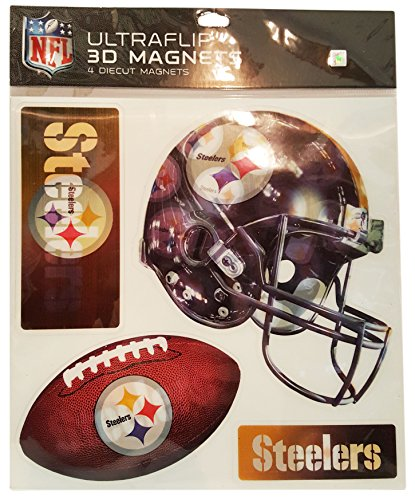 NFL New Pittsburgh Steelers 4-Piece Ultraflip 3D Multi-Magnets - Holographic NFL Magnets Perfect for Vehicles, Home, School, or at the Office! Represent Your Favorite Team In (Broncos Office Accessories)