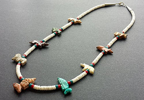 Hand Carved Mixed Animals Fetish Necklace with White Clam Shell Heishi Beads
