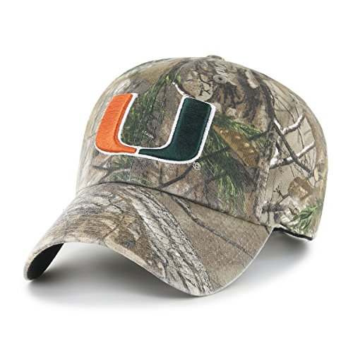OTS NCAA Miami Hurricanes Realtree Challenger Clean Up Adjustable Hat, Realtree Camo, One - Camo Hurricanes Miami