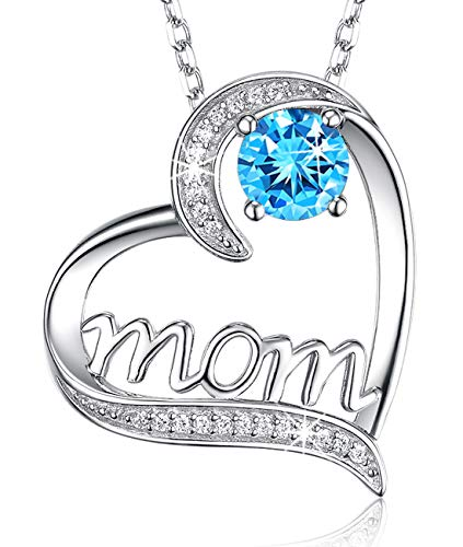 Marine Pendant Mom - ❤️ I Love You Mom ❤️ Mothers Day Necklace Birthday Gifts for Mom Sterling Silver Jewelry Love Heart Blue Aquamarine Swarovski Necklace Wife Anniversary Gifts for Women from Daughter from Son