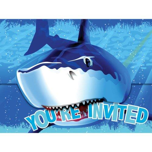 8-Count Party Invitations, Shark Splash Birthday