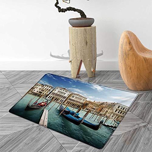 Italian Bath Mats Carpet Gondolas in The Venetian Adriatic Lagoon Historical Venezia Photo Floor Mat Pattern 55