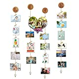 O-KIS Hanging Photo Display, Picture Frame Collage Set Includes Wood Clips, Golden Chain, Circular Wood Lid, with Crystal Pendent