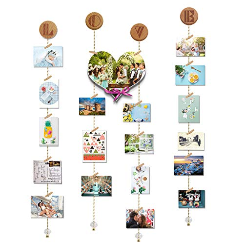 O-KIS Love Photo Display, Picture Frame Collage Set Includes Wood Clips, Golden Chain, Circular Wood Lid, with Crystal Pendent for Wall Decor -