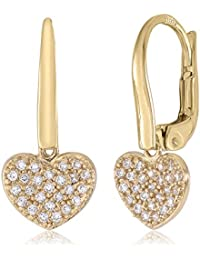 14K Gold Heart Leverback Earrings with Pavé Simulated Diamonds Italy