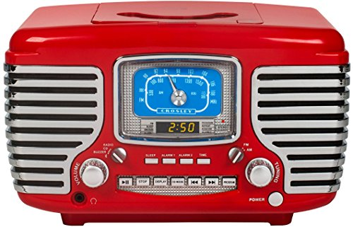 Crosley CR612D-RE Corsair Retro AM/FM Dual Alarm Clock Radio with CD Player and Bluetooth, Red (1950 Kitchen)