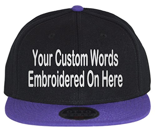 fed0484c9e5 Custom Snapback Hat. Otto. Embroidered. Your Own Text Flatbill Bill Snapback.  (