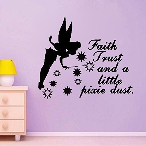 (Letters Wall Decor Stickers Faith Trust and a Little Pixie Duston Sale Tinkerbell Inspired Vinyl Wall Decal)