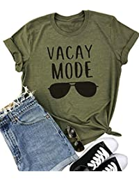 Vacay Mode Sunglasses Letter Print T-Shirt Casual Short Sleeve Top Tee Blouse