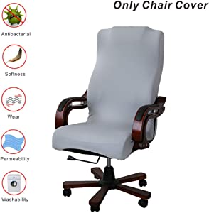 My Decor Office Chair Covers, Removable Cover Stretch Cushion Resilient Fabric Computer Chair/Desk Chair/Boss Chair/Rotating Chair/Executive Chair Cover, Large Size, Grey