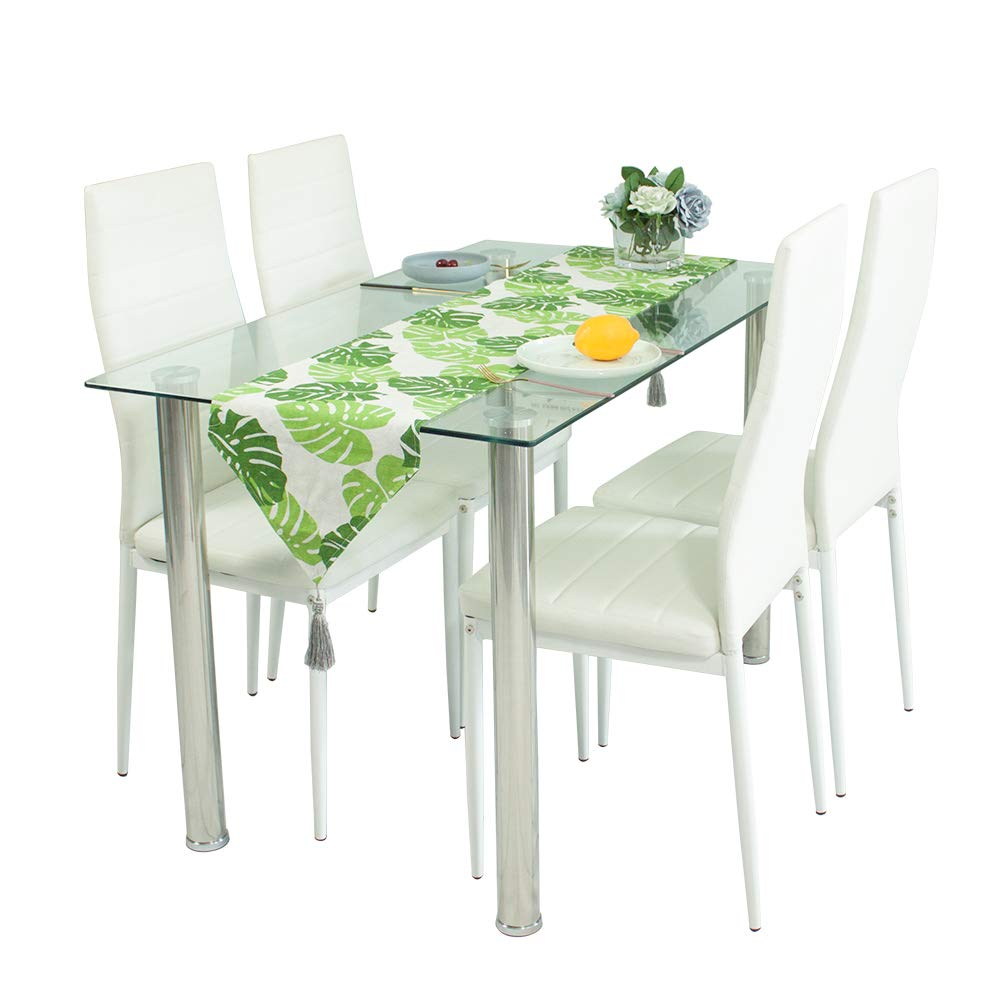 Dining Table Chairs,Glass Dining Table and Chair Set with 4 Faux Leather Foam Ribbed High Back Dining Chairs with Chromed Legs,Contemporary Rectangle Dining Room Furniture Set of 4 120 x 70 x 75 cm White Joolihome