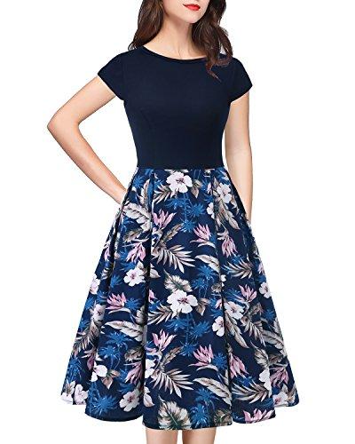 Style Manches Rockabily Soire Floral Robe Hepburn Navy Swing HomRain Vintage navy Femme Flower White Courtes Y4WUnYz0