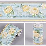 SimpleLife4U Yellow Peony Flower Wallpaper Border Self-adhesive Wall Borders Home Kitchen Bedroom Decor